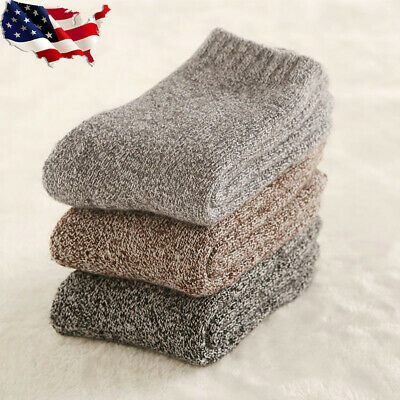 3 Pairs Men Wool Cashmere Thick Warm Soft Solid Casual Sports Socks Winter Hi-Q