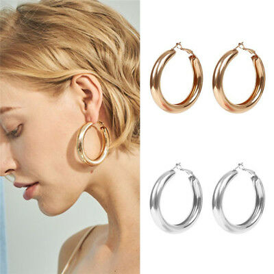 Fashion Women Thick Tube Big Gold Silver Round Circle Earrings Ear Hoop Jewelry