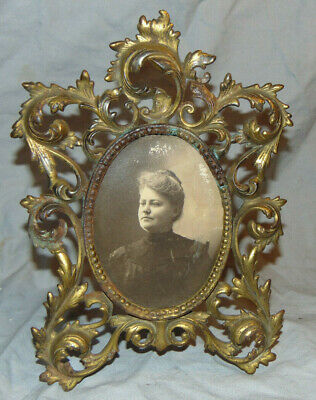 """Antique Metal Hinged Back Art Nouveau Picture Frame for 5-3/8"""" x 4-1/8"""" Image"""