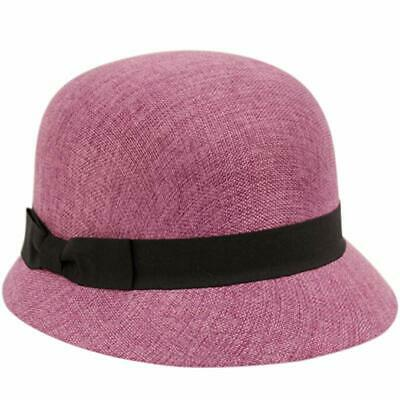 3a3967067b5971 Women's Gatsby Linen Cloche Hat Purple Bucket With Black Band And Ribbon