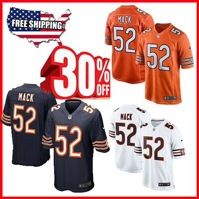 fcb6da193 Khalil Mack Authentic Stitched Jersey 52 Chicago Bears Navy Blue White  Orange