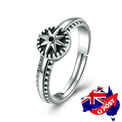 925 Sterling Silver Antique Style Star Wedding Engagement Adjustable Band Ring