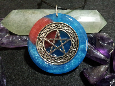 Pentacle Blood Moon Pendant,spiritual,pagan,wiccan jewelry,witchcraft,protection