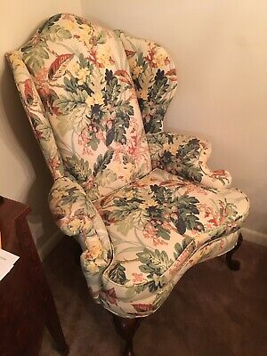 Vintage Pennsylvania House Queen Anne Style High-back Wing Arm Chair Upholstered
