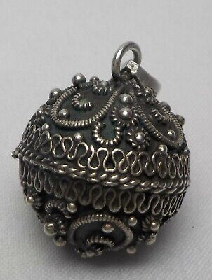 Vtg Rare Ornate Round Ball Sterling Silver Pendant Mexico Has A Chime Like Bell