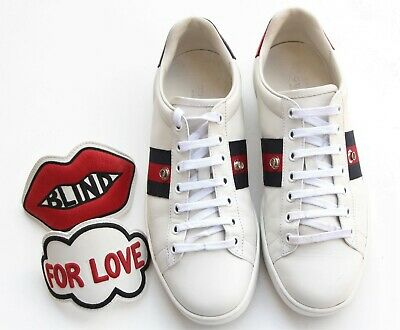 f63484377 AUTH GUCCI 'NEW Ace' Blind For Love Web Patch Sneaker EU 37.5 / US 7 ...