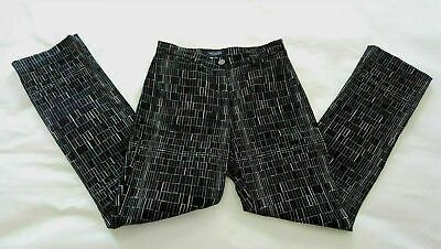 MONDI SPORT Womens 6 34 Blue Black White Grey Geo Print Pants Office Work Career