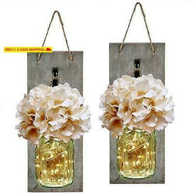 Habom Mason Jar Sconce Rustic Home Wall Decor With Led Fairy Lights - Handcrafte