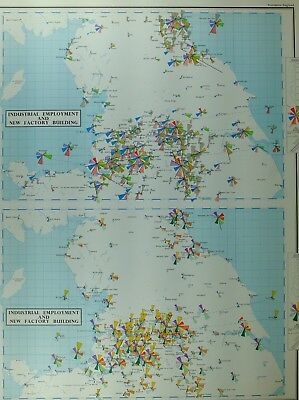Vintage Large Map Northern England Industrial Employment New Factory Building