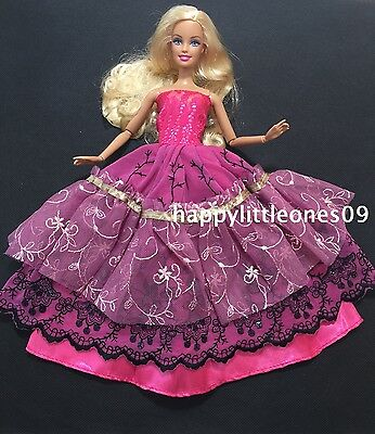 Purple Embroidered Barbie Doll Wedding Party Evening Dress/Clothes/Outfit New