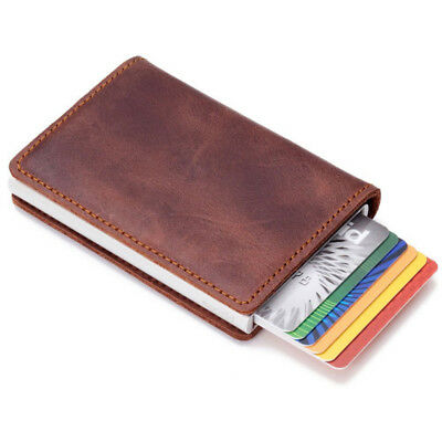 Mens Money Wallet Leather Credit Card Holder RFID Blocking Money Clip Card Case