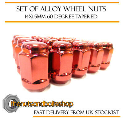 Red Alloy Wheel Nuts (20) 14x1.5 Bolts For Honda Civic Type-R [Mk9] 15-17