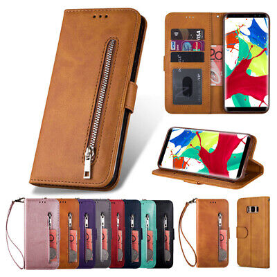 For Samsung S10 S9 S8+ S6 S7 Edge Note8/9 Wallet Case Zipper Leather Flip Cover