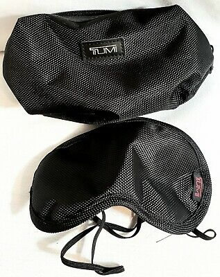TUMI (for Delta) Soft Black First Class Travel Case Make up Pouch & Eye Mask.