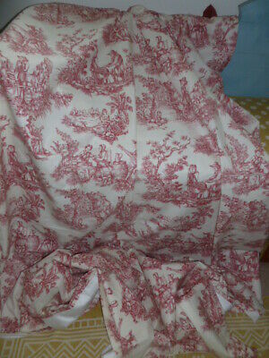 Vintage French country style red Toile de Jouy lined curtains or fabric