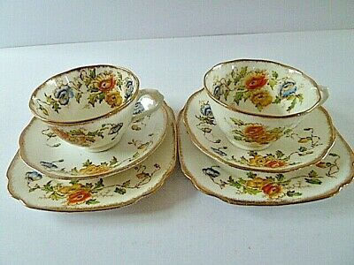 Pair Vintage Royal Albert Crown China Cup Saucer Plate Trios