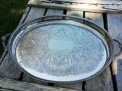 Vintage X Large Cavalier Silver On Copper Gallery Serving Tray Shell Handles