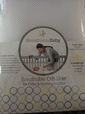 Brand New Sealed Breathable Baby Mesh Crib Liner For Cribs & Rocking Cradles