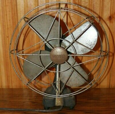 "Vintage EARLY Wizard 10"" Fan 4 Blade Western Auto Supply Co.Model  Working"