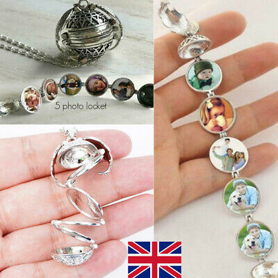 UK Expanding 5 Photo Locket Necklace Pendant Angel Wings Jewelry Memorial Gift