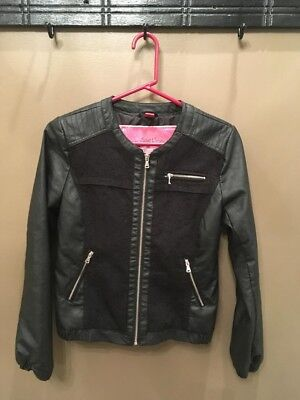 Fashion Faux Leather Jacket Women - Black, Size small with zipper details