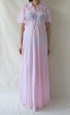 Vintage Retro 70s Pastel Pink Lace Long Night Dress Nightgown