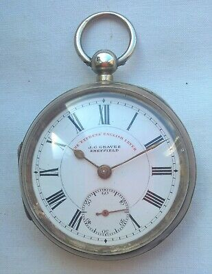 Active J G Graves Working Silver Pocket Watch 1899? express English Lever