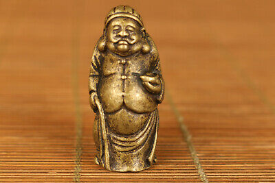 Rare chinese old bronze hand carving man landlord statue figure noble gift