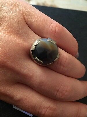 Yemeni Mens Ring Agate Aqeeq Stone Traditional Old Silver