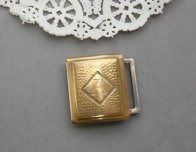 """Giant Grip Buckle Dirigold Patent Arts & Crafts Gold Tone Engraved """"A"""" Initial"""