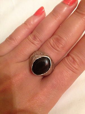 Yemeni Blaclk Agate Aqeeq Stone Ring Made Of Old Silver