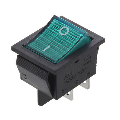 Interruptor Basculante 4 Pin DPST ON/OFF 15A 30A 250V CA 28x21mm Verde J2U7