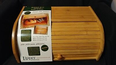"Lipper International Roll Top Light Bamboo Wood Bread Box #8846 15 3/4""  NWT"