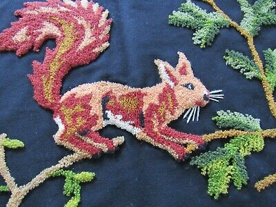 "ESTATE Antique StumpWork SQUIRREL on Black Wool 25x19"" Pillow Cover"
