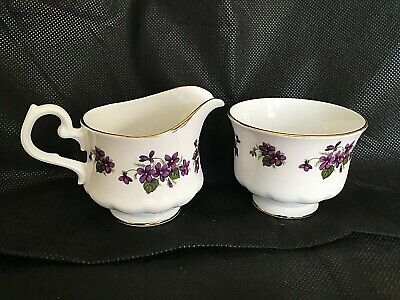Queen Anne Footed Sugar Creamer Petite Violets Gold Trim  English Bone China