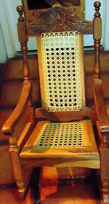 Quality, Antique, Cain, Children's Rocking Chair - #3