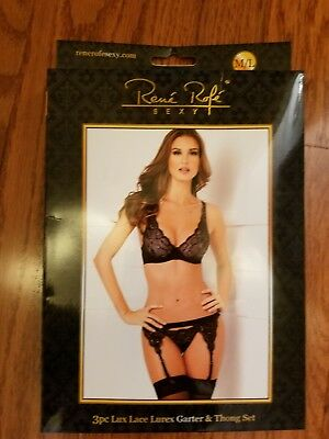 5dffd5467f1 3 PIECE LACE Garter Set New Adult Womens Sexy Lingerie by Rene Rofe ...