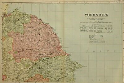 1896 County Map Yorkshire North East Whitby Guisbrough Tickering New Malton