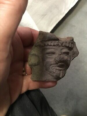 Ancient Mayan Pottery Shard of Face Original No Reserve