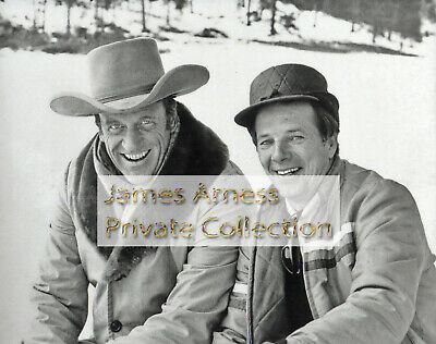 "James Arness Gunsmoke Marshal Dillon With John Mantley ""Snow Train Set"" Candid"