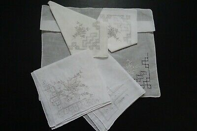 "4 X White Unused Vtg ""Aprenzel Style? Hand  Rolled   Ladies  Handkerchiefs"
