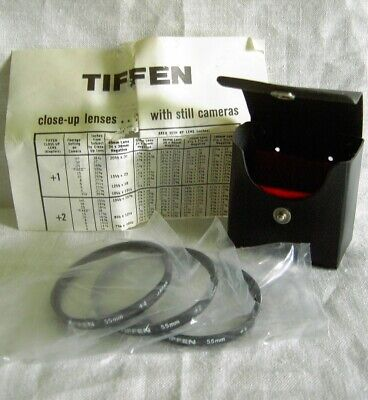 TIFFEN  55 mm Close-up Camera LENS FILTER SET +1, +2, +4  WITH CASE  NEVER USED