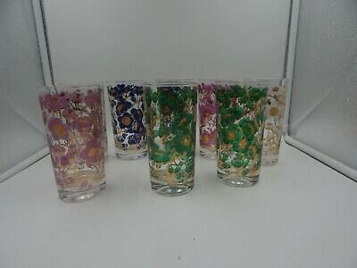 Fred Press MCM Floral and Gold Tumblers Glasses Vintage Set of 8