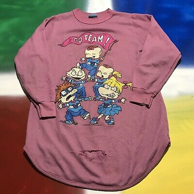 6d377287 VTG RUGRATS KIDS WAFFLE KNIT SHIRT CLASSIC Graphic RETRO Nickelodeon RARE  LONG