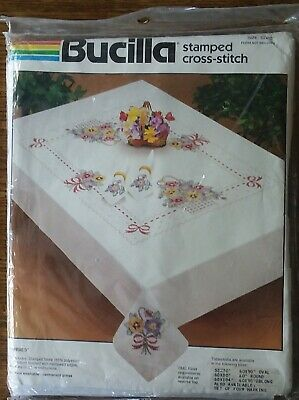 """Bucilla Stamped Cross-Stitch Tablecloth """"Pansies"""" 52"""" X 70"""" New Sealed 402751"""