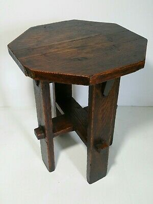Antique Mission Arts & Crafts Style End Table Plant Stand Handcrafted - Octagon