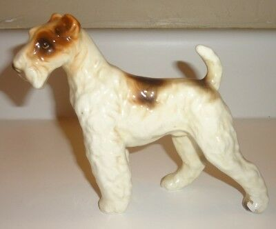 Vintage Porcelain Ceramic Wire Fox Terrier Dog Figure