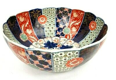 19th C. Japanese Imari Meiji Large Scalloped Bowl 11 3/4 Inch Diameter