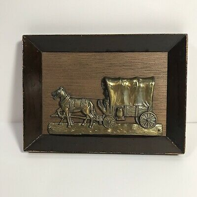 Vintage Covered Wagon plaque wall art wood frame and metallic 3-d art
