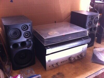 Stereo System, Record player, Amplifier and Seakers. Frankenstien Setup.